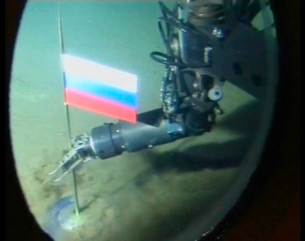 A video grab shows the view out of the porthole of a Russian miniature submarine 14,000 feet below the North Pole