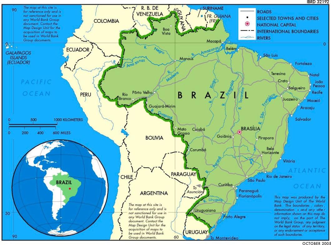 Brasil ocupa el 47% del territorio de América del Sur.
